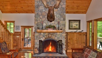 Moose Mountain Lodge wood burning Fireplace