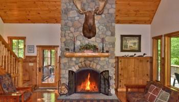 Moose Mountain Lodge wood burning Fireplace