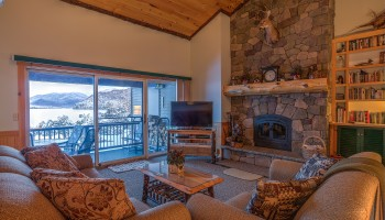 Living room with views of Lake Placid and Whiteface Mountain
