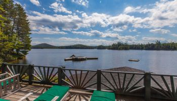 View of Upper St Regis Lake from Boathouse of Camp Dancing Bear vacation rental