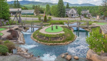 Pirate's Cove Mini Golf island in Lake Placid
