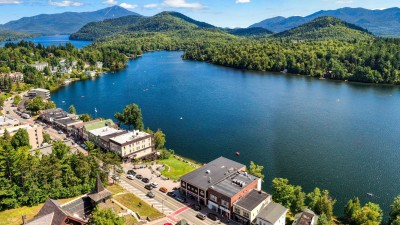 aerial view of commercial space in front of Mirror Lake Lake Placid, NY