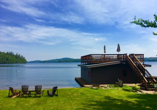 View of Upper Saranac Lake and Boathouse