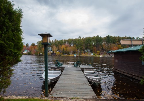dock with boats on Lake Flower