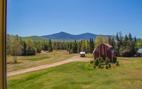 View from the House overlooking the Barn, Pond and Whiteface Mountain