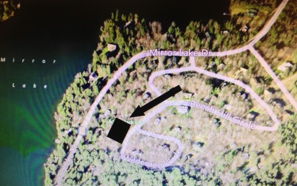 Map showing aerial of Beech Hill Subdivision and Mirror Lake