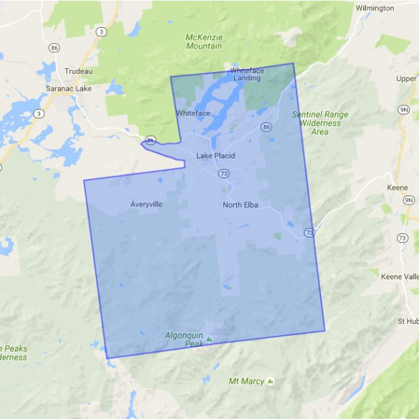 map of Lake Placid, NY boundry