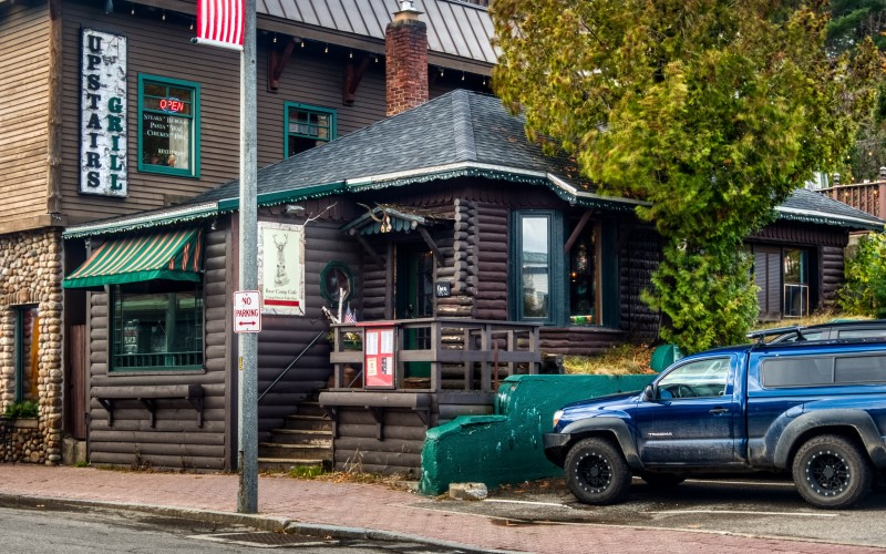 exterior of base camp cafe in lake placid from the street