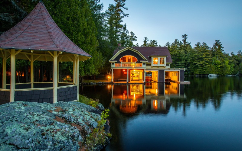 Camp Dancing Waters on Upper Saranac Lake, NY signature boathouse