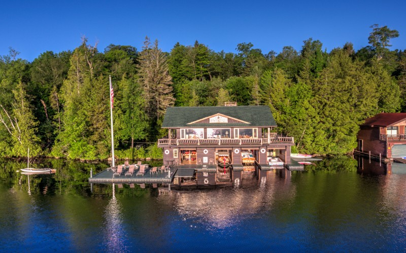 Aerial view of Camp Midwood boathouse on Lake Placid, NY
