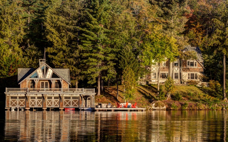 Camp Hildreth on Lake Placid taken from the water
