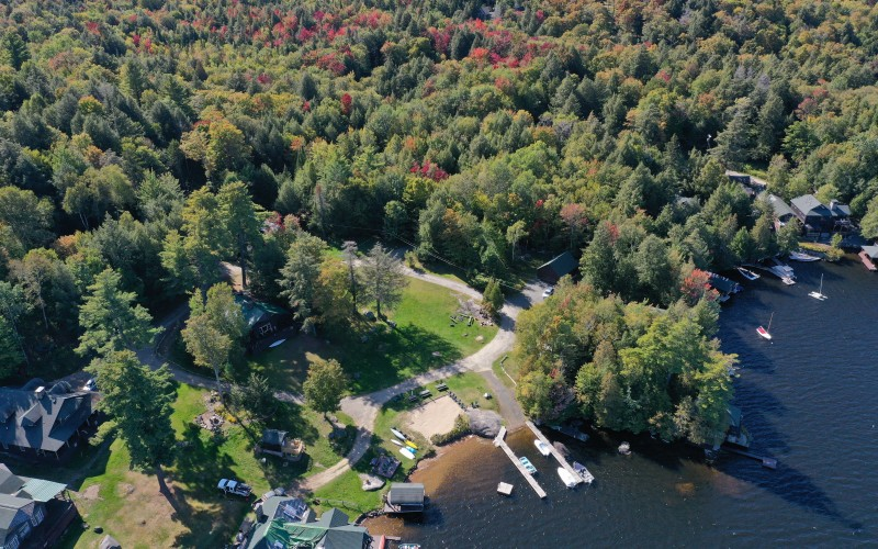 Aerial view of the Sekon lake access point to Upper Saranac Lake