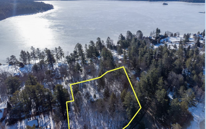 Back Bay Lot boundary as seen from the air showing Upper Saranac Lake waterfront