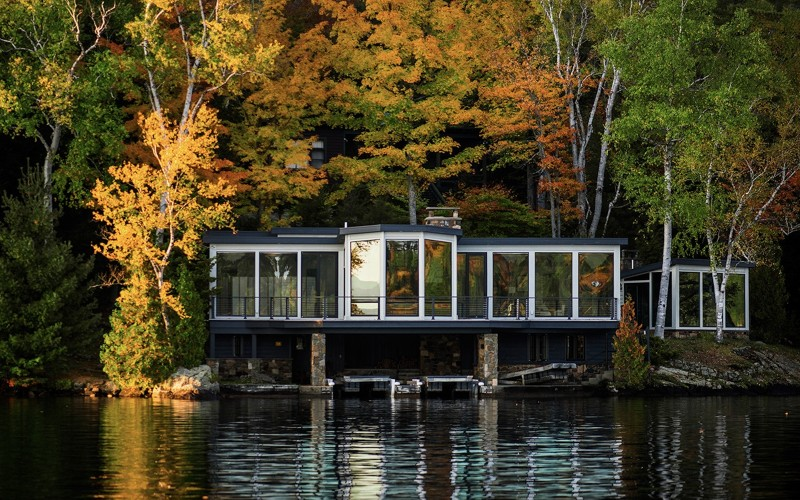 Trout Point on Lake Placid during fall